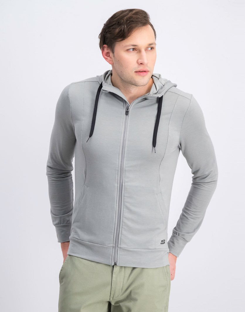 Men's Space Dye Terry Zip Hoodie, Light Heather Grey
