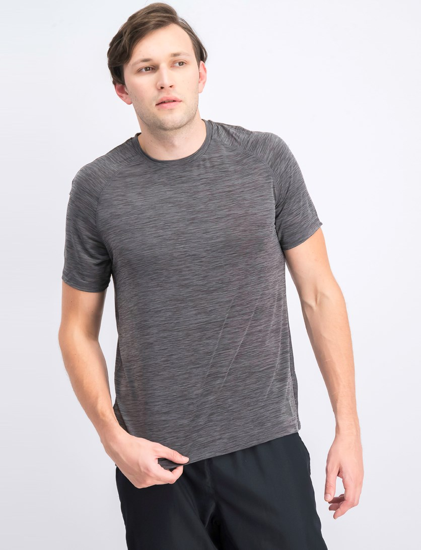 Men's Slick Space Dye Crew Neck Tee, Steel Gray