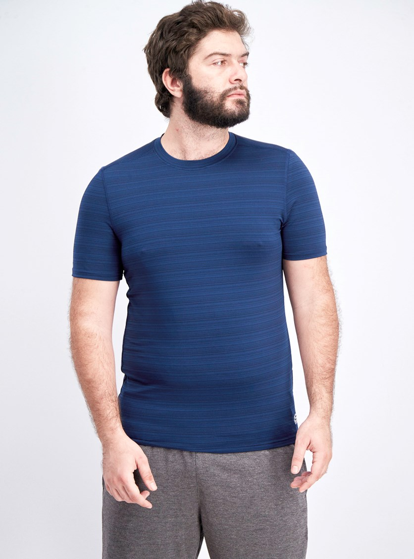 Men's Barcode Stripe Jersey Crew Tee, Dress Blue
