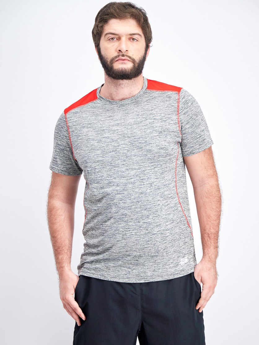 Men's Space Dye Contrast Crew Neck Tee, Charcoal/Red