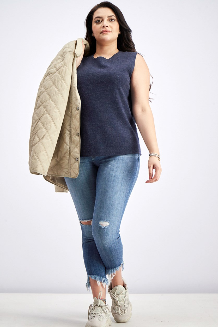 Women's Sleeveless Crew-neck Top, Navy