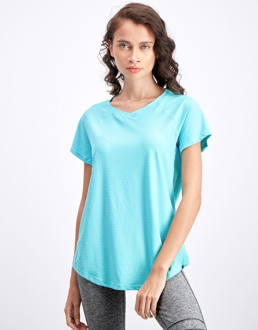 Women's Textured V-Neck T-shirt, Turquoise