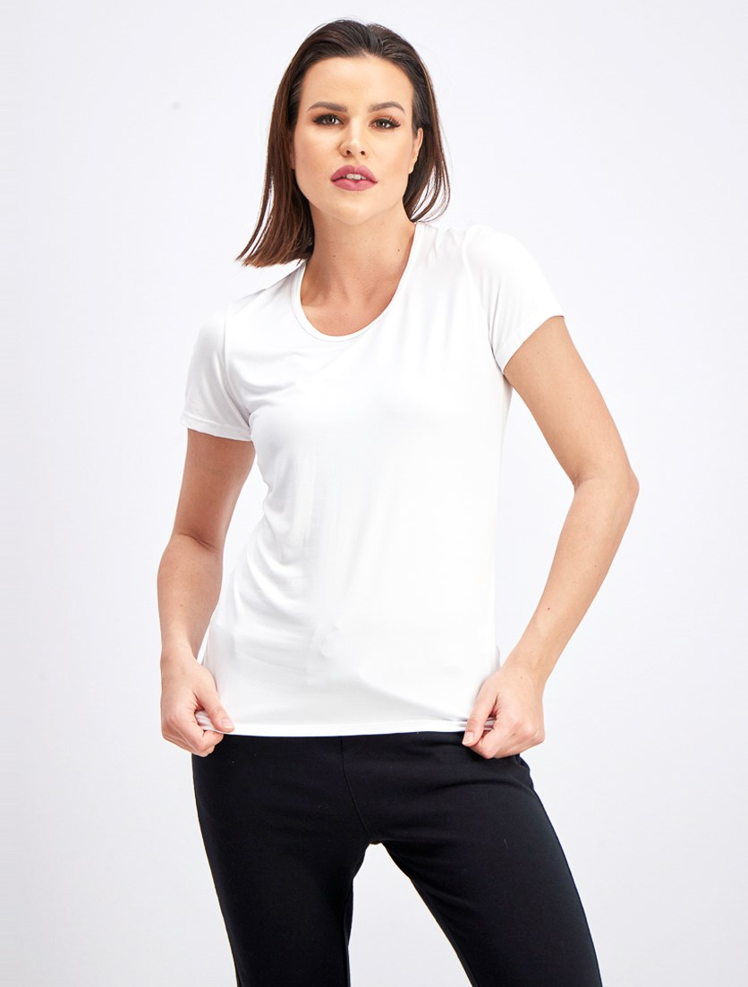 Scoop Neck 2 Pack Wicking Tee, White