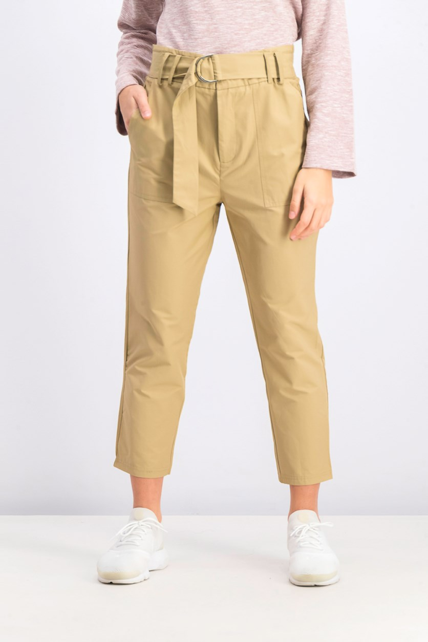 Women's Belted Trouser Pants, Tan