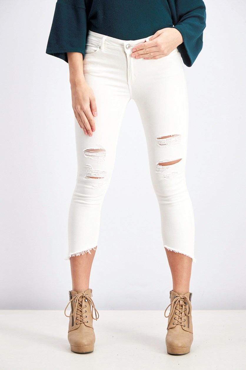 Women's Ripped Jeans, White