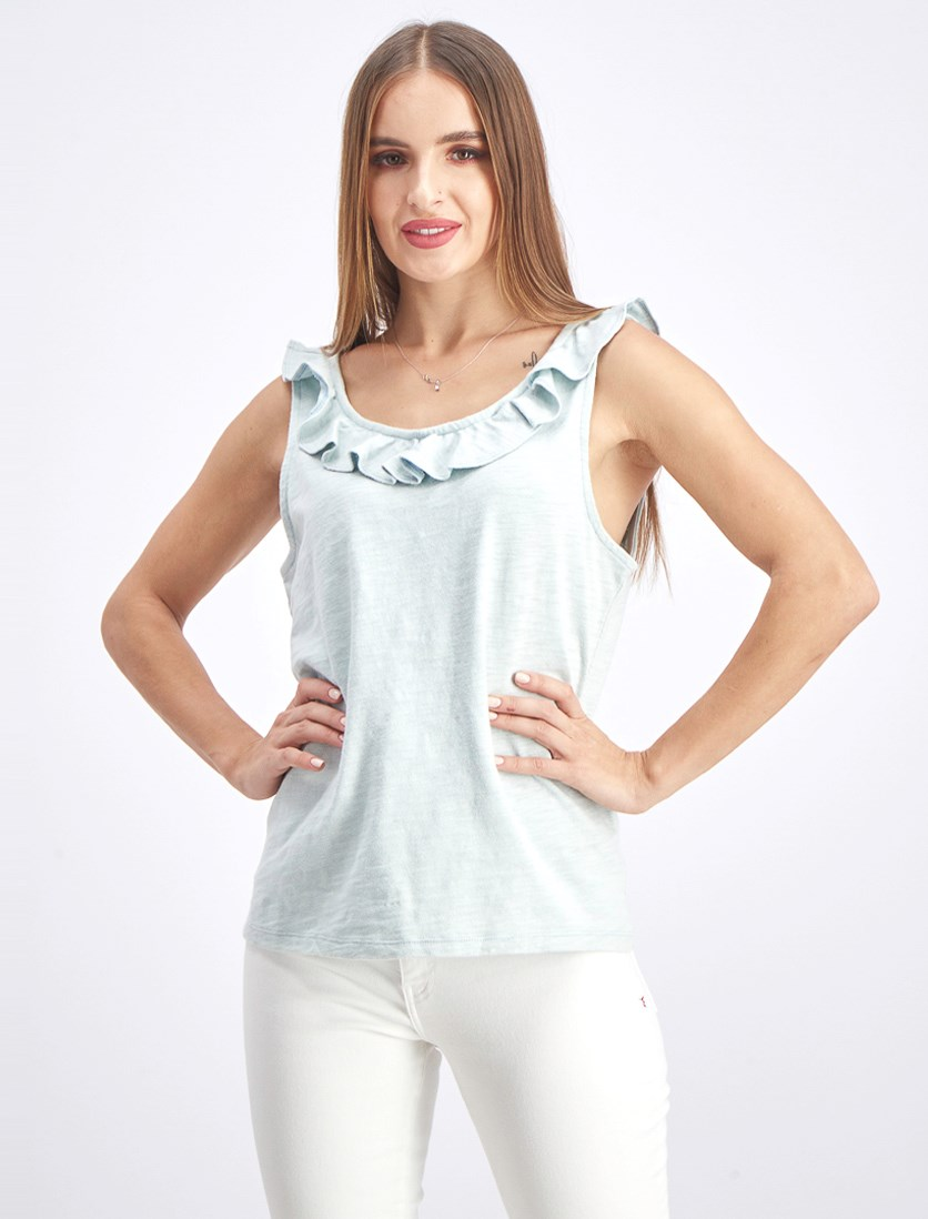 Women's Plain Scalloped Top, Blue