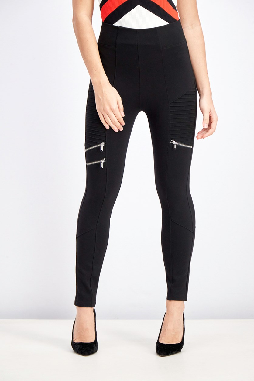 Women's Textured Leggings, Black