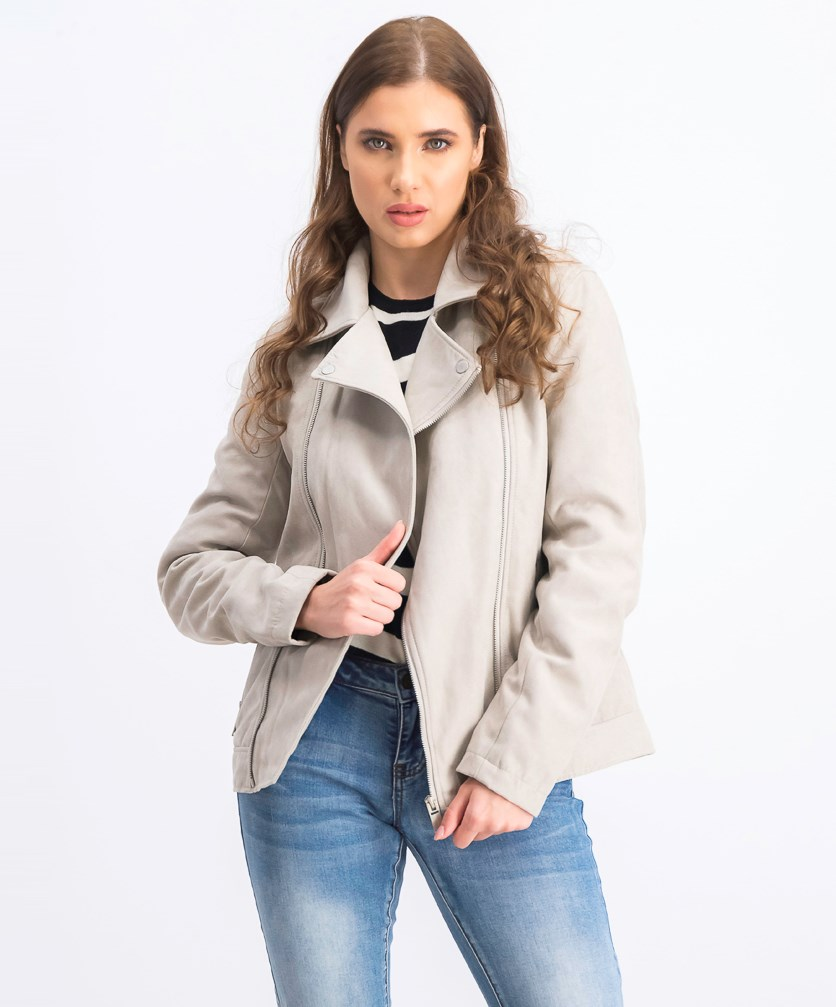 Women's Spread Collar Jacket, Beige