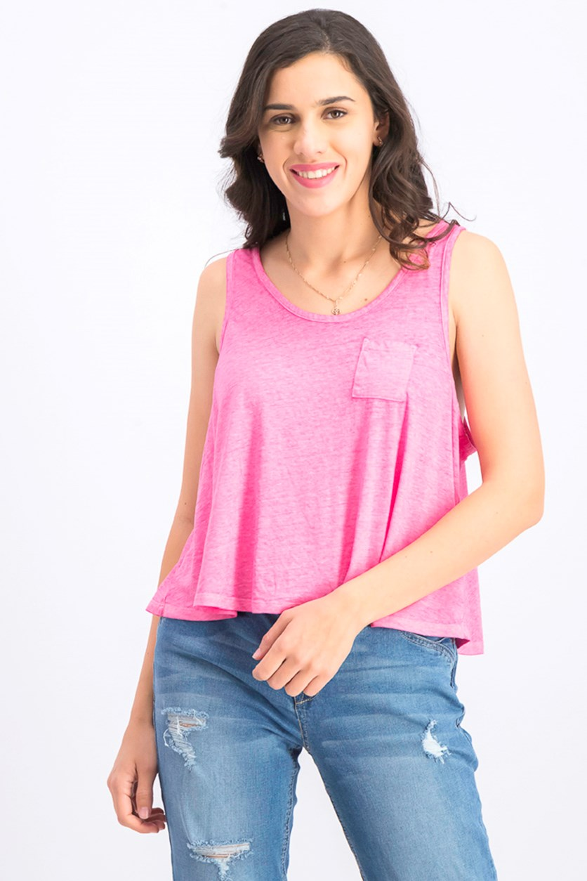 Women's Front Pocket Tank Top, Pink