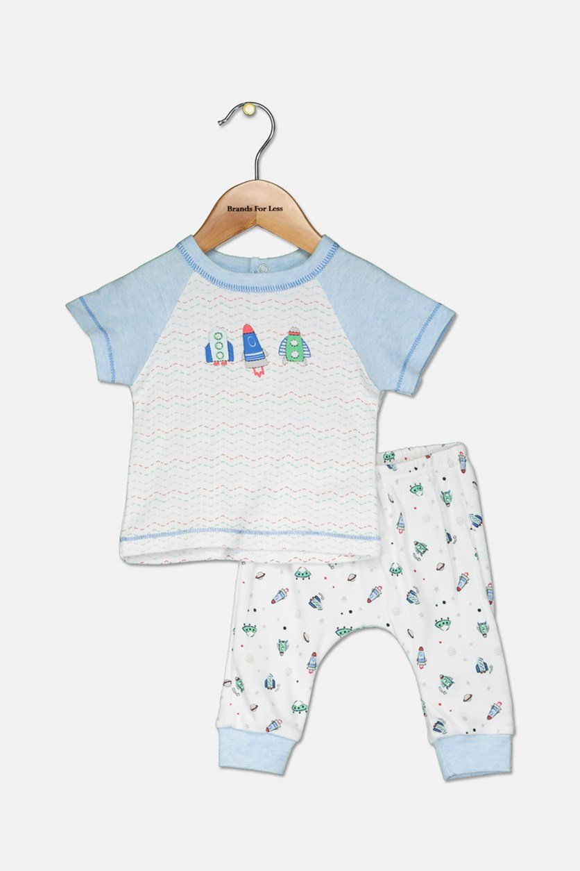 Toddler's Spaceship Printed Set, White/Blue Combo