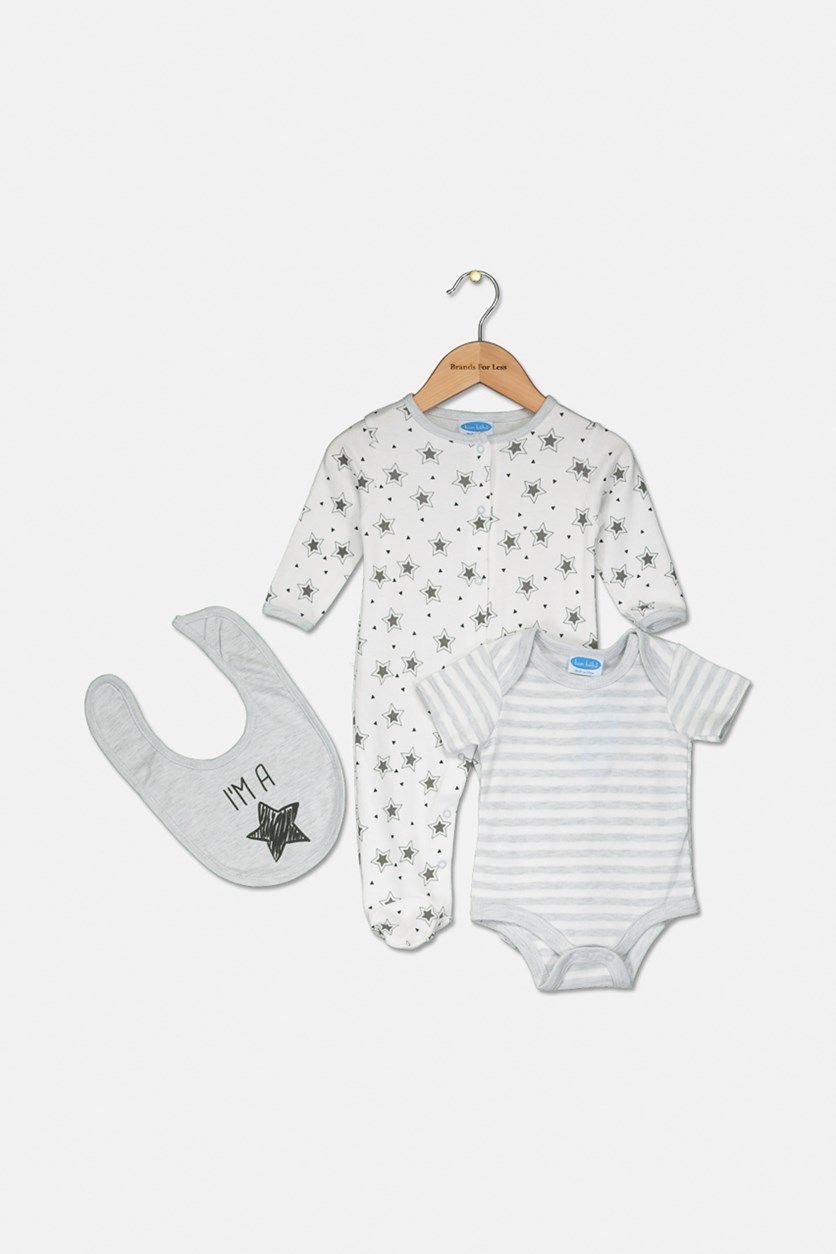 Toddlers 3-pcs Bib & Bodysuit, White/Grey