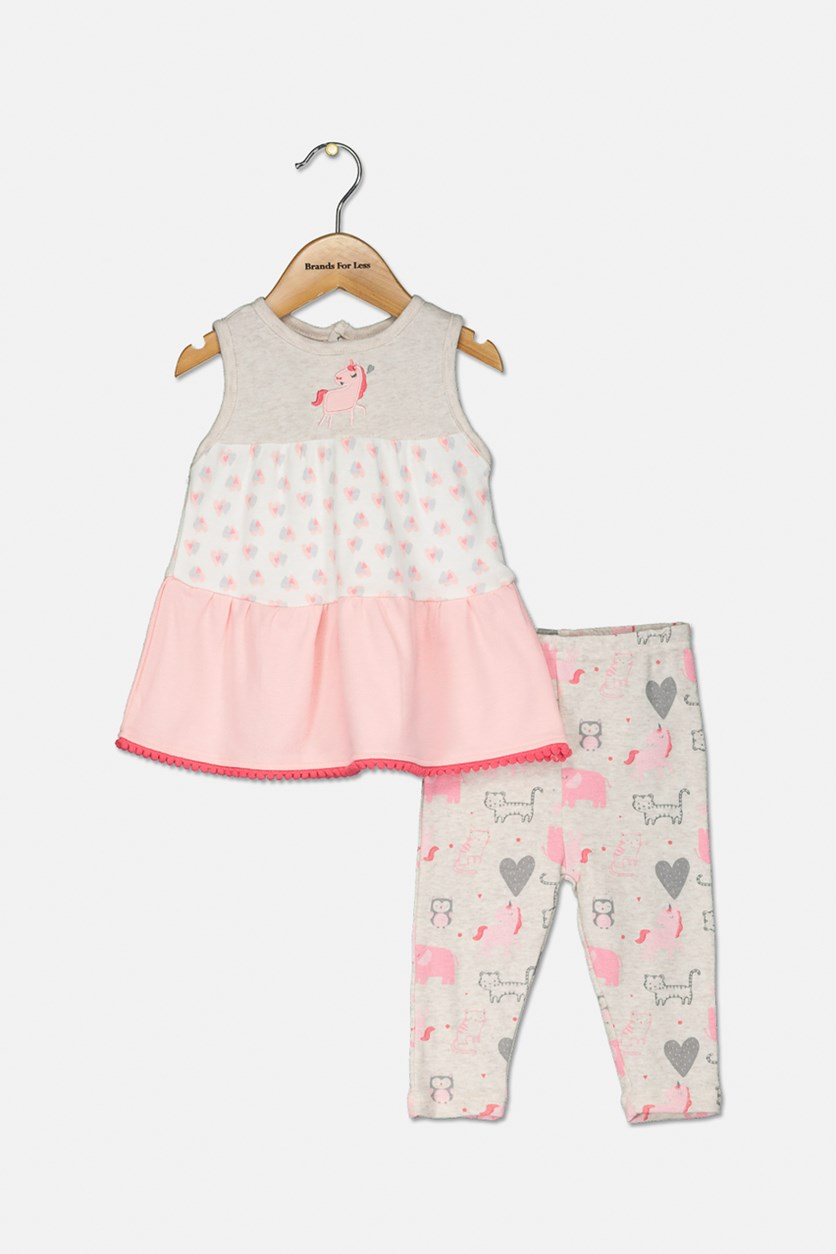 Baby Girls' 2 Piece Set Casual Top, Peach/Pink