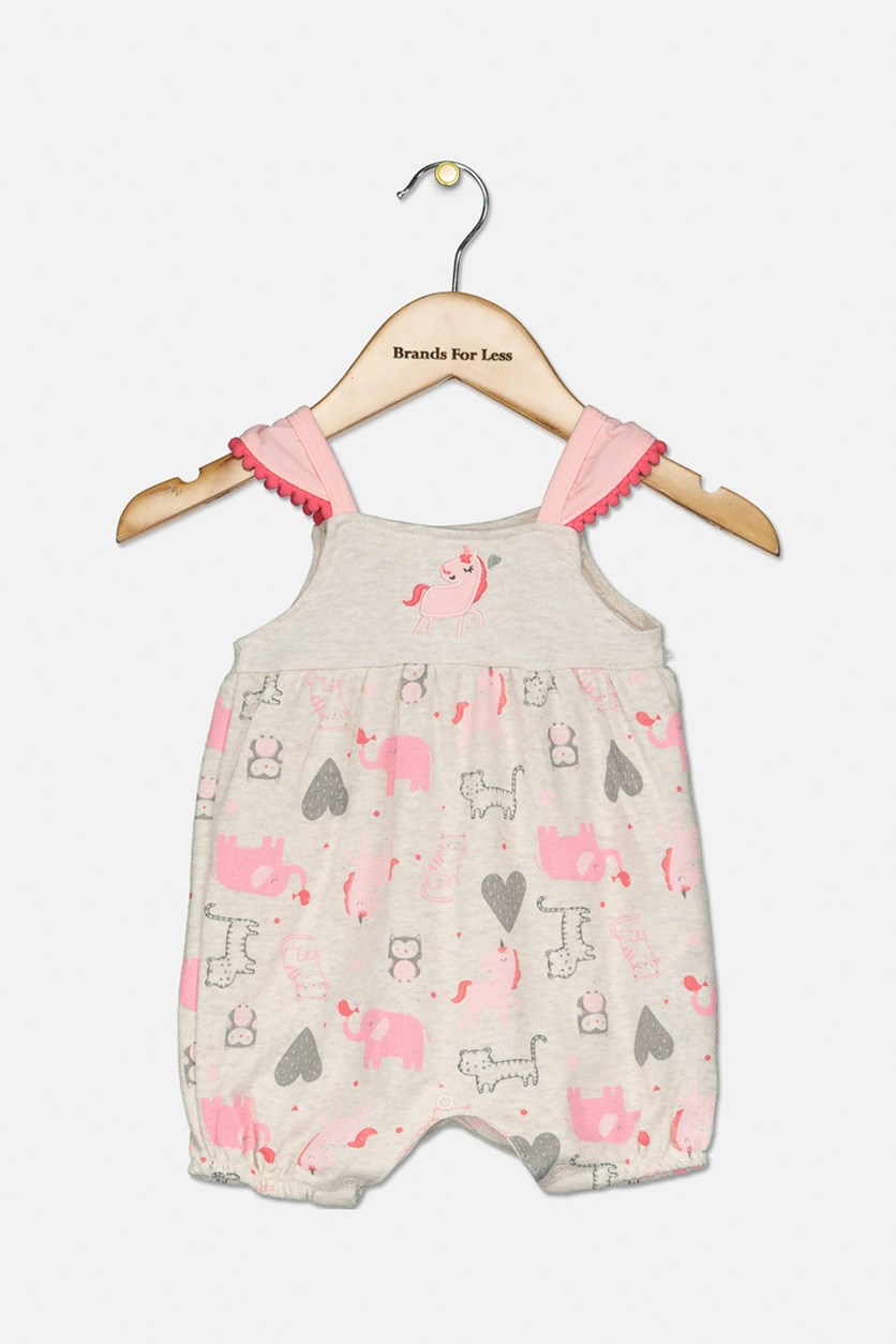 Toddler Girls Printed Romper, Pink/Cream