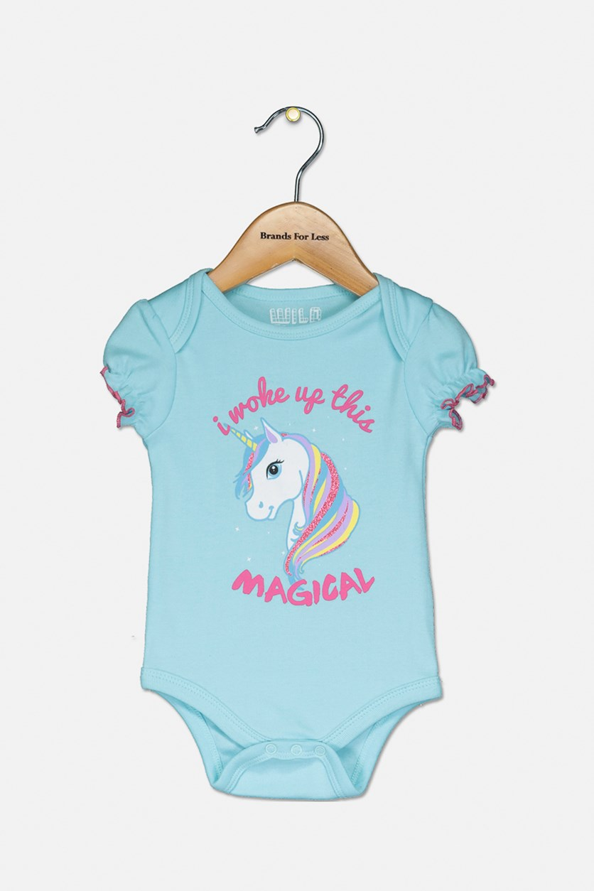 Baby Girls' Unicorn Romper, Blue/Pink