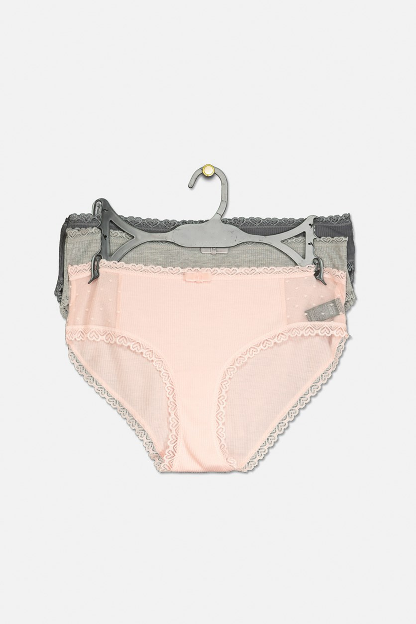 Women's Full Heart Hipster 3 Set Panties, Peach/Grey/Dark Grey