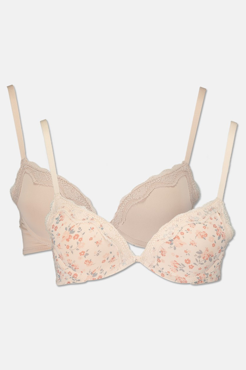 Women's Lightly Padded Perfect Fit Bra Set of 2, Cream/Beige