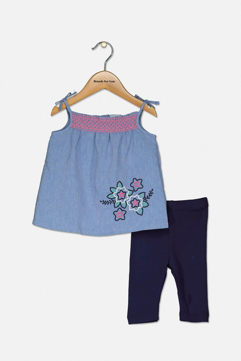 Baby Girls' Sleeveless Top & Leggings Set, Blueviolet/Navy