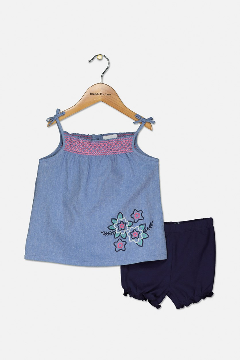 Toddler Girls Top & Shorts Set, Navy/Blue