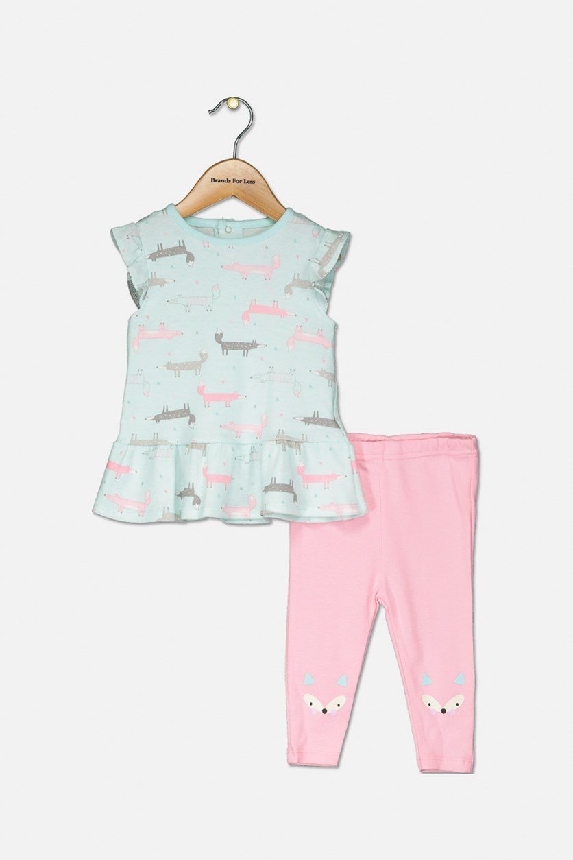 Baby Girls' 2-Pc. Set Animal Print Top/Pants, Mint/Pink