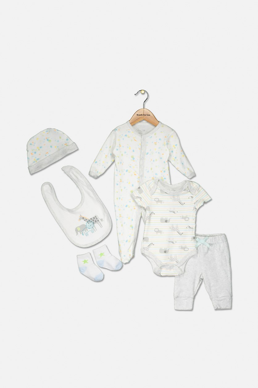 Baby Girl Stripe Bodysuit Set with Bib, Socks And Cap, White/Grey