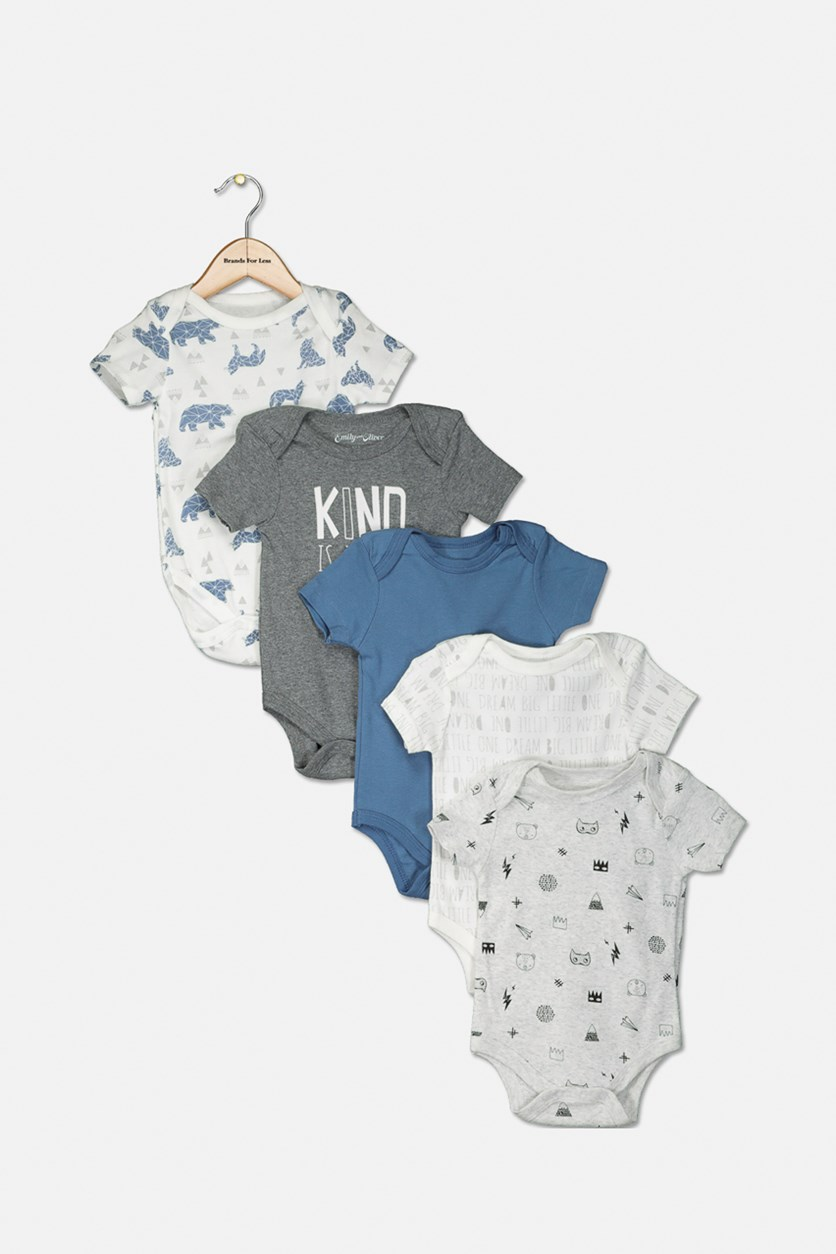 Toddler Girls Printed Bodysuit 5 Set, Grey/White/Blue