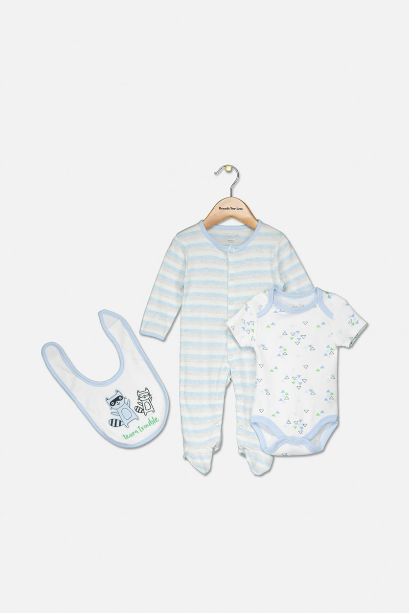 Toddler Boys Printed Bodysuit & Bib 3-Pc Set, Blue/White