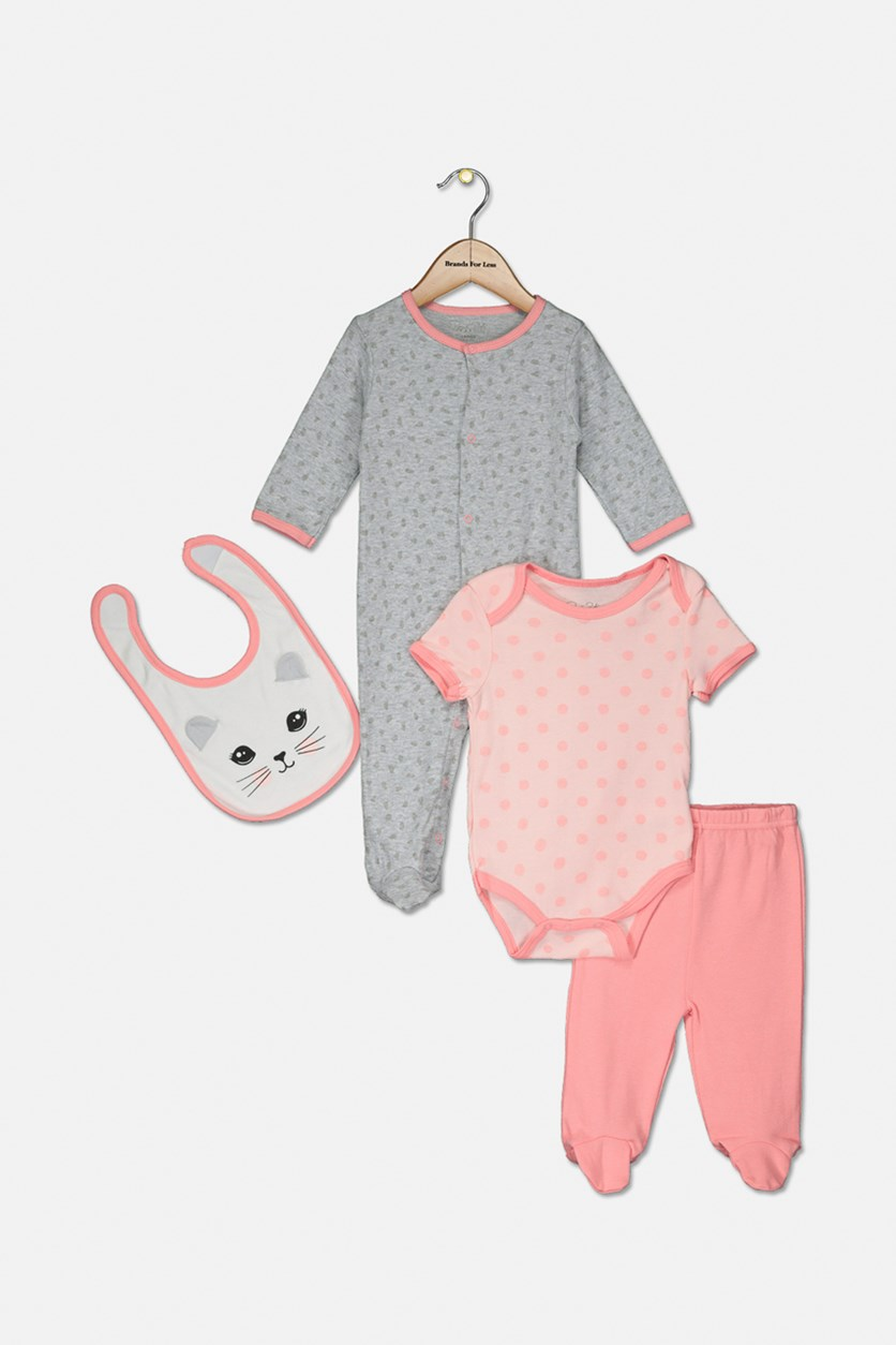 Baby Girls 4 Pc Coverall Bodysuit, Pants, Bib Set, Pink/Grey