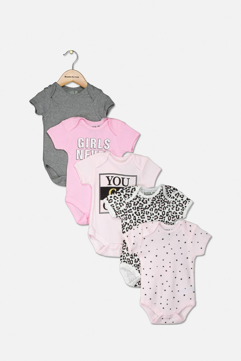 Toddlers Girls 5pc Bodysuit, Pink/Grey/Black
