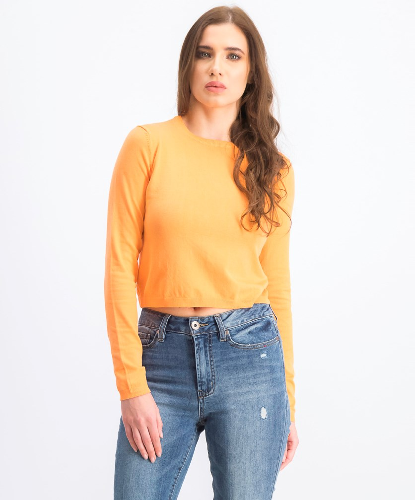 Women's Plain Sweater, Orange