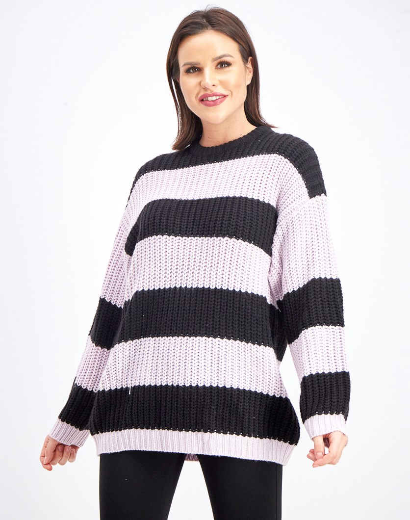 Women's Stripe Textured Pattern Sweatshirt, Black/Purple