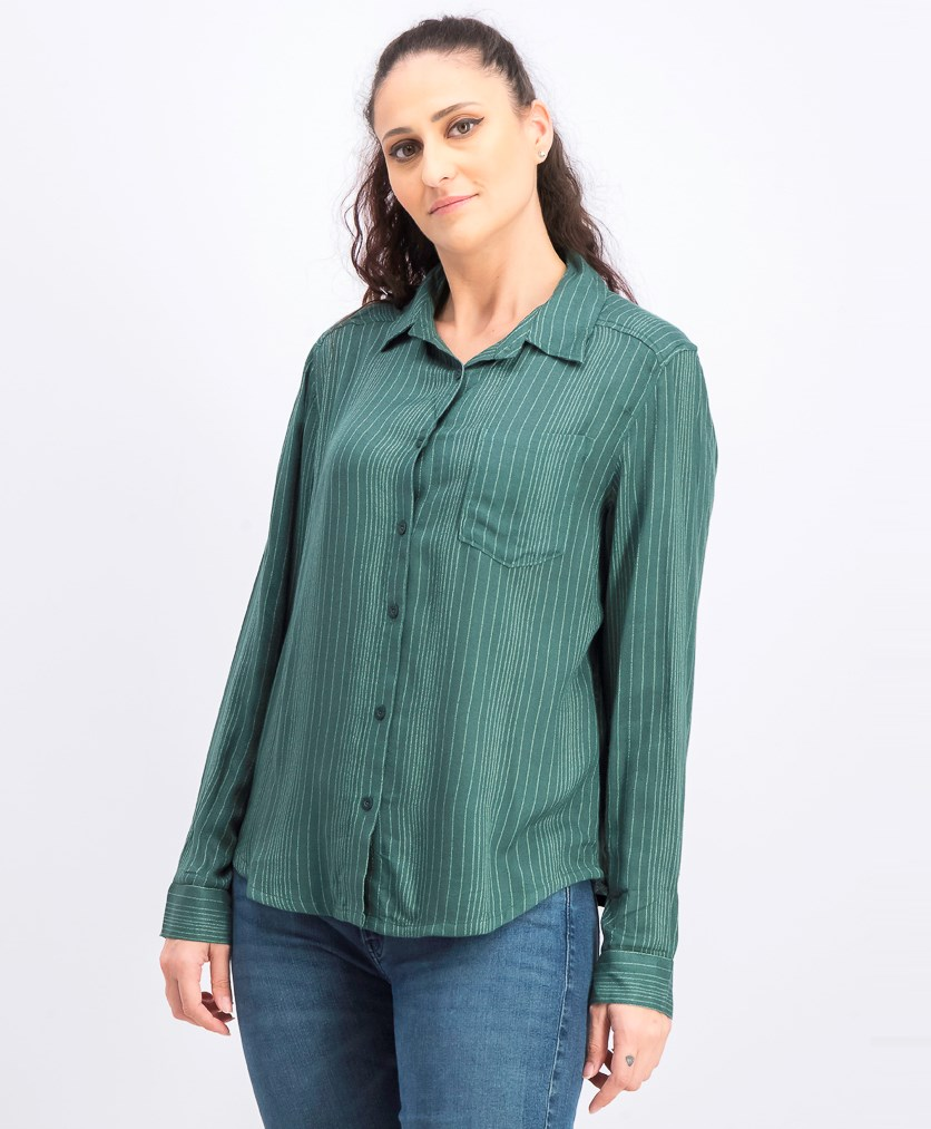 Women's Denver Woven Long Sleeve Shirt, Green
