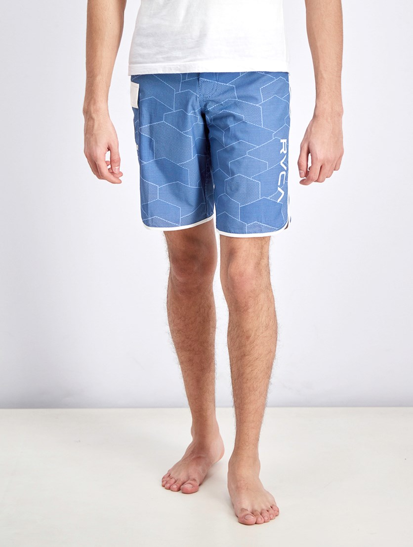 Men's Eastern Scalloped Hem Board Shorts, Blue/White