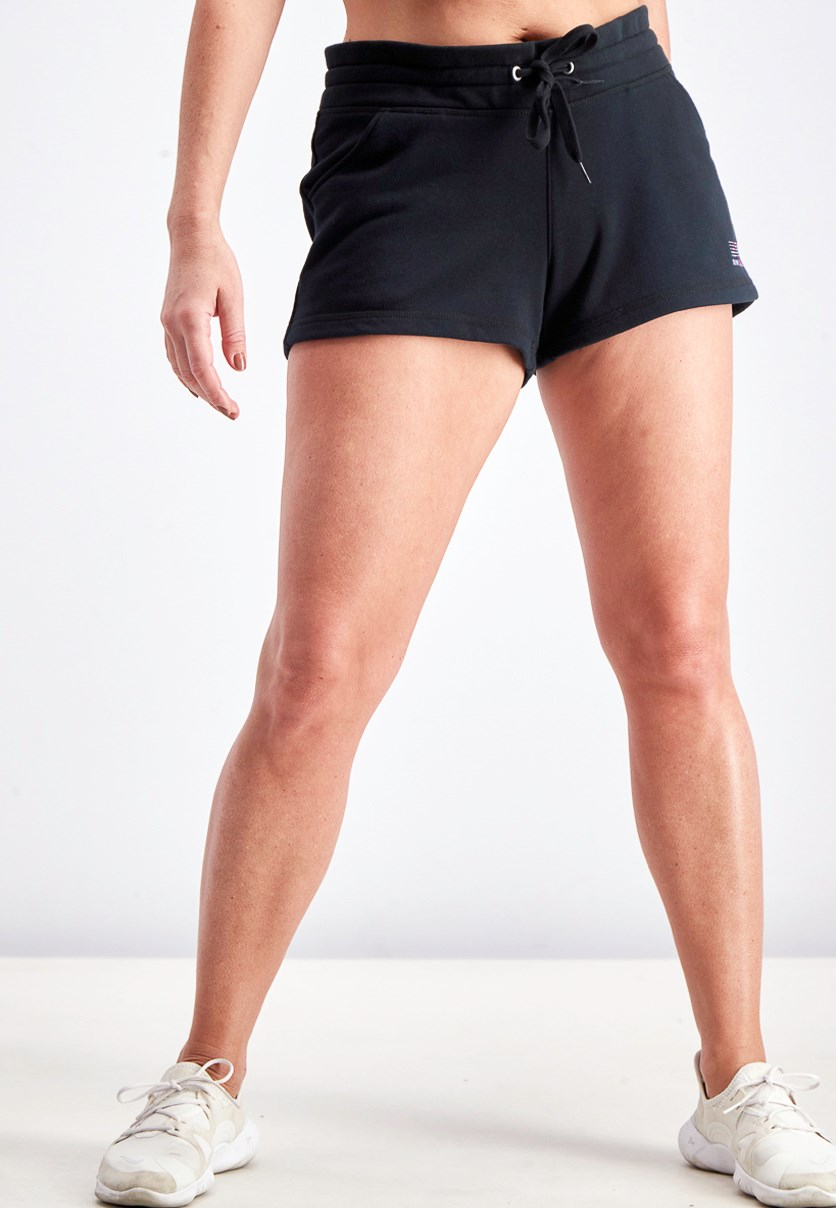 Women's Mini Shorts, Black/Pink