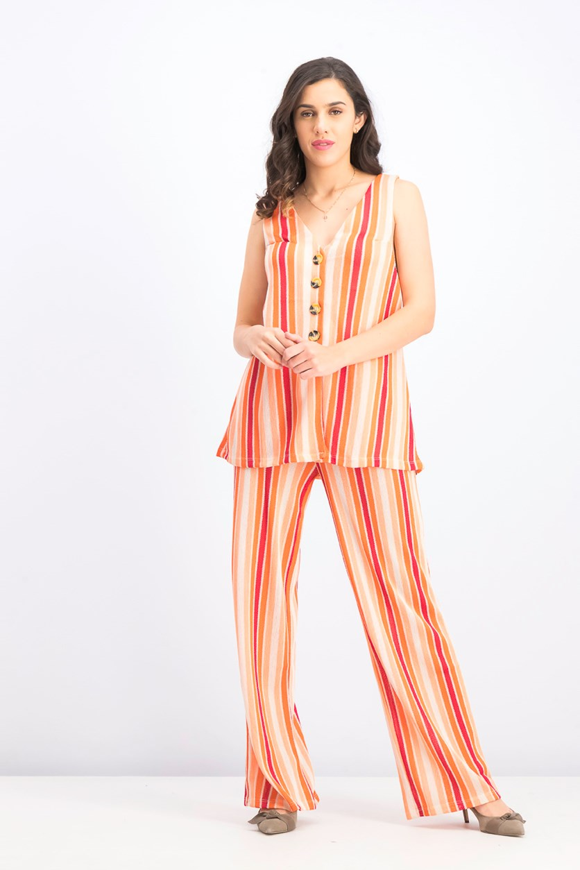 Women's Bridget Stripe Tank & Flare Pants, Sunset