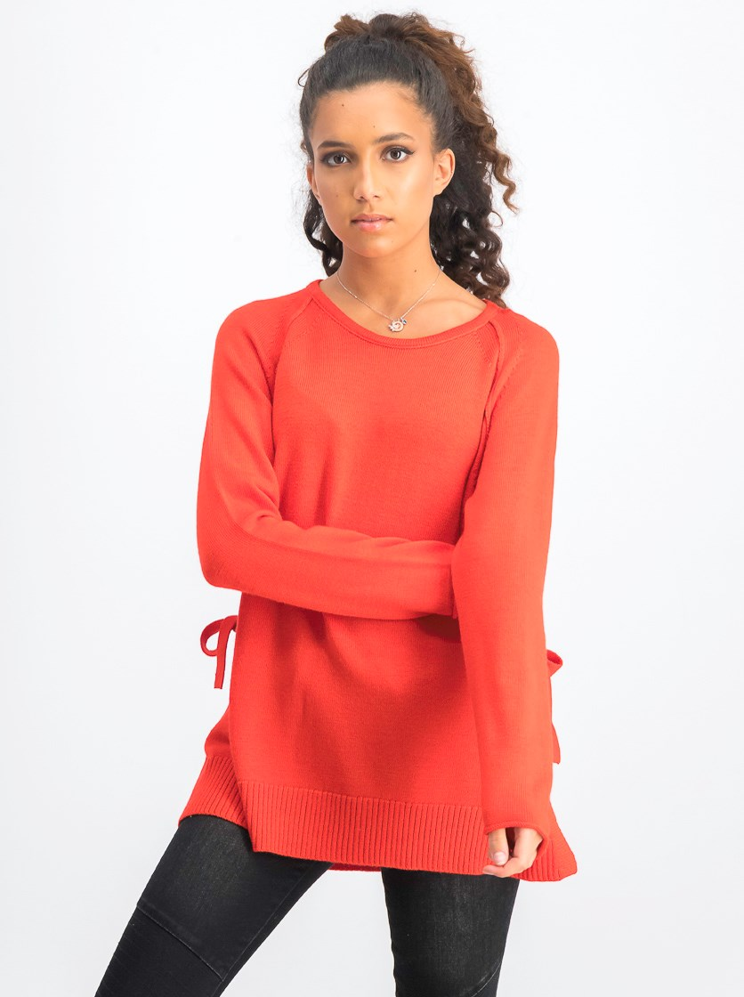 Women's Longsleeves With Ties Sweater, Red
