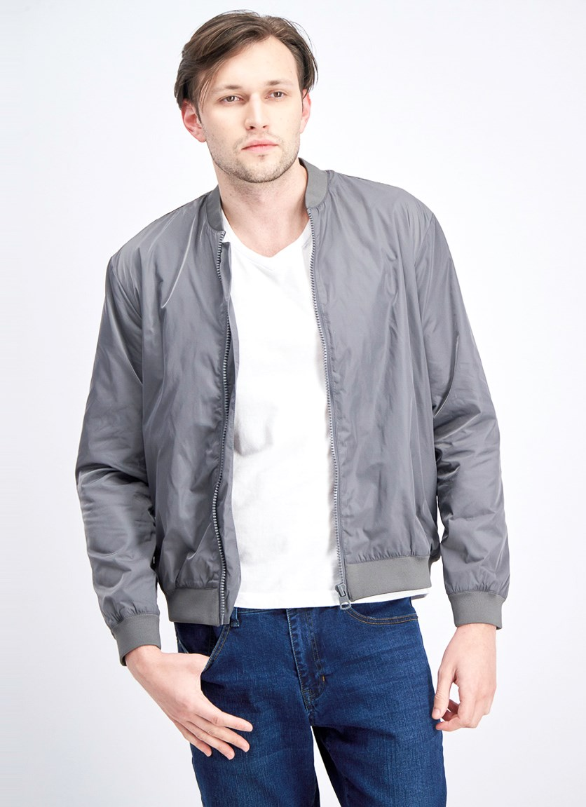 Men's Band Collar Jacket, Charcoal Grey