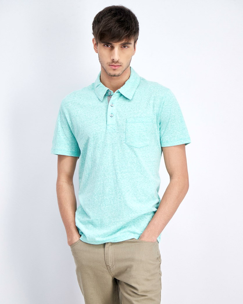 Men's Pocket Chest Polo Shirt, Aqua