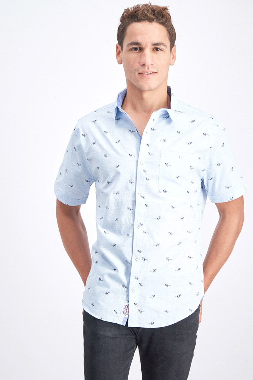 Men's Sunglass Printed Shirt, Aqua Blue