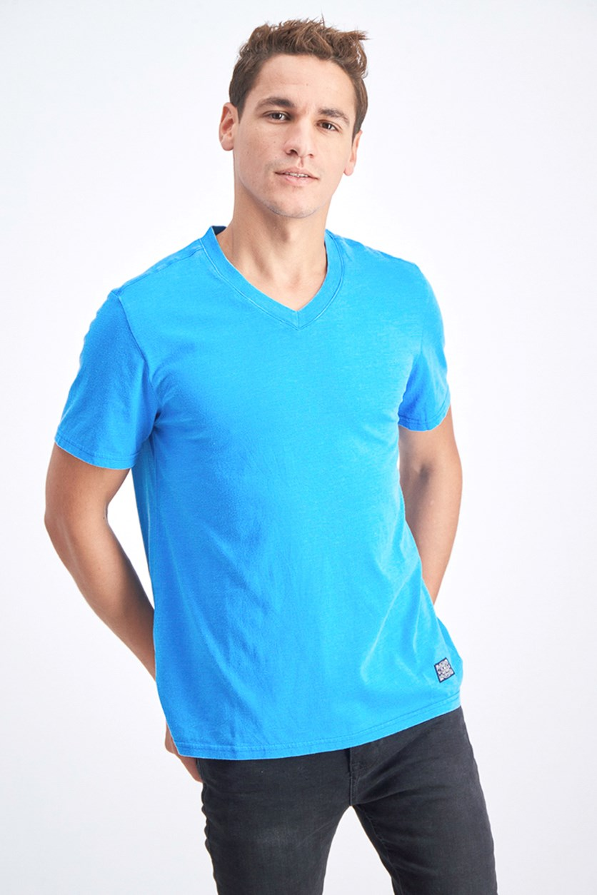 Men's V-Neck Shirt, Blue/Teal