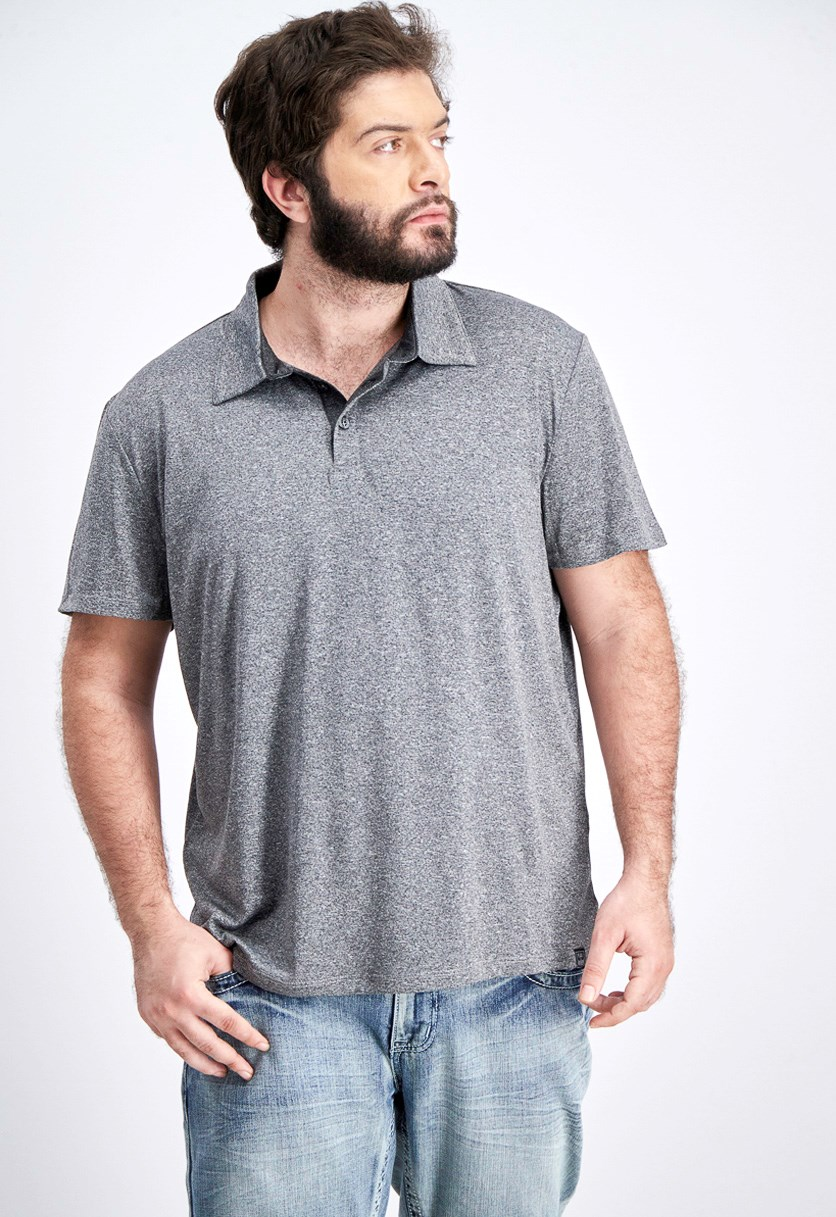 Men's Space Dye Polo Shirt, Charcoal