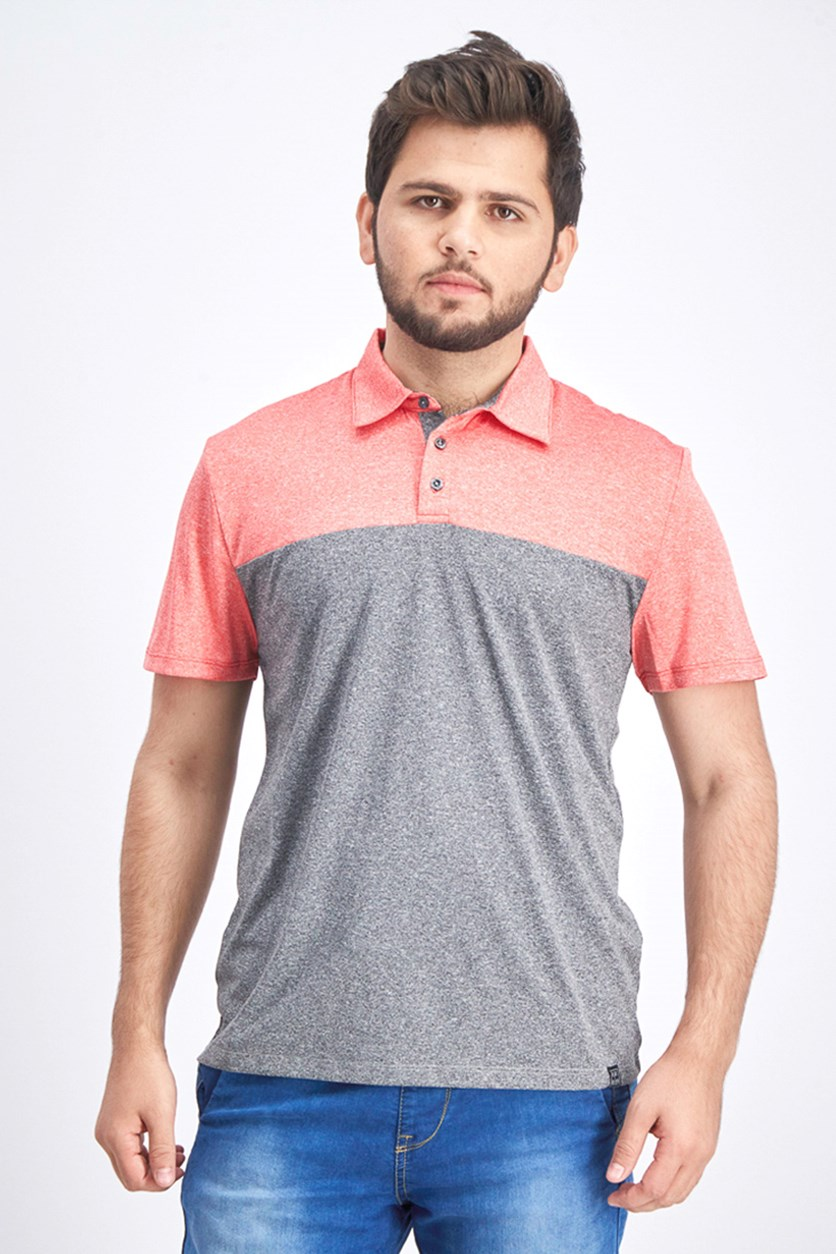 Men's Colorblock Polo Shirt, Red/Grey