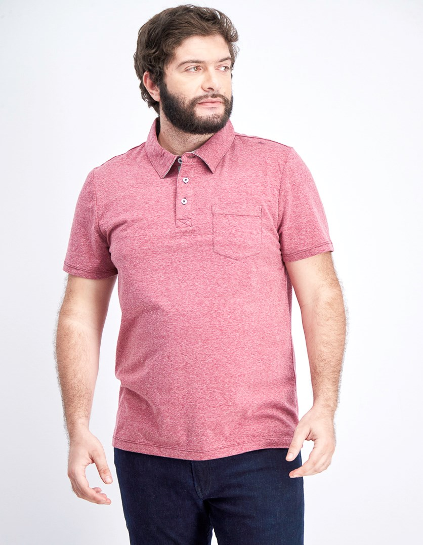 Men's Knit Polo Shirt, Burgundy