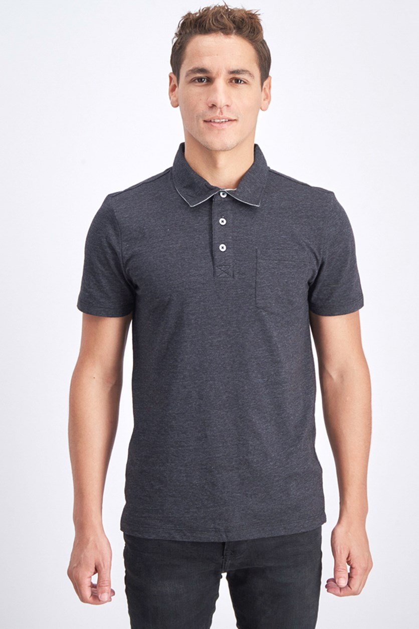 Men's Knit Polo Shirt, Charcoal