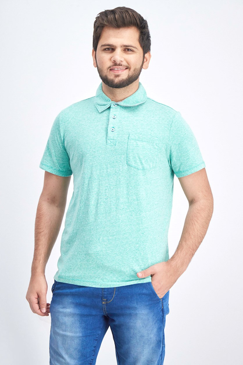 Men's Knit Polo Shirt, Green