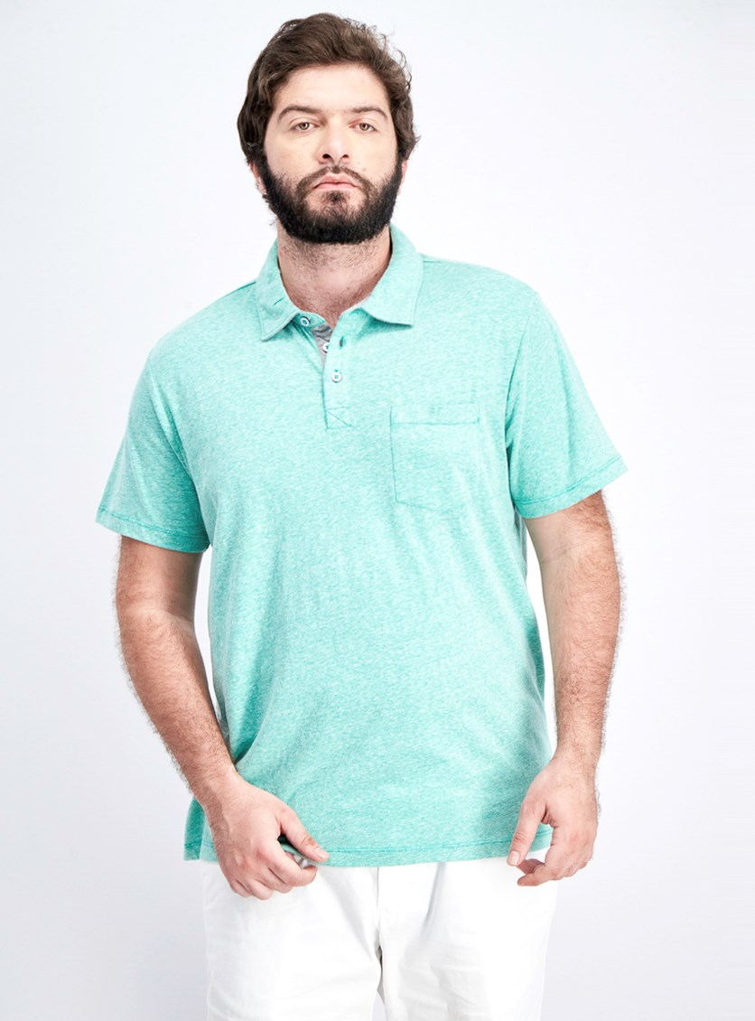 Men's Space Dye Polo Shirt, Green