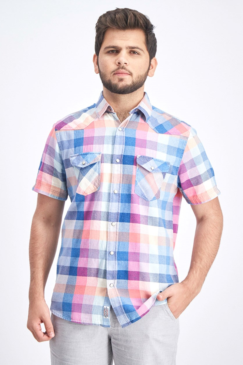 Men's Athletic Fit Casual Shirt, Blue/Pink