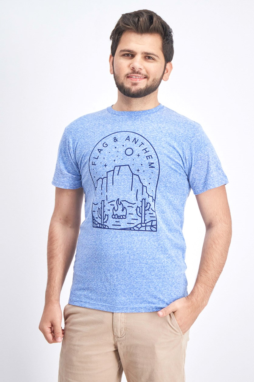 Men's Graphic Tee, Heather Blue