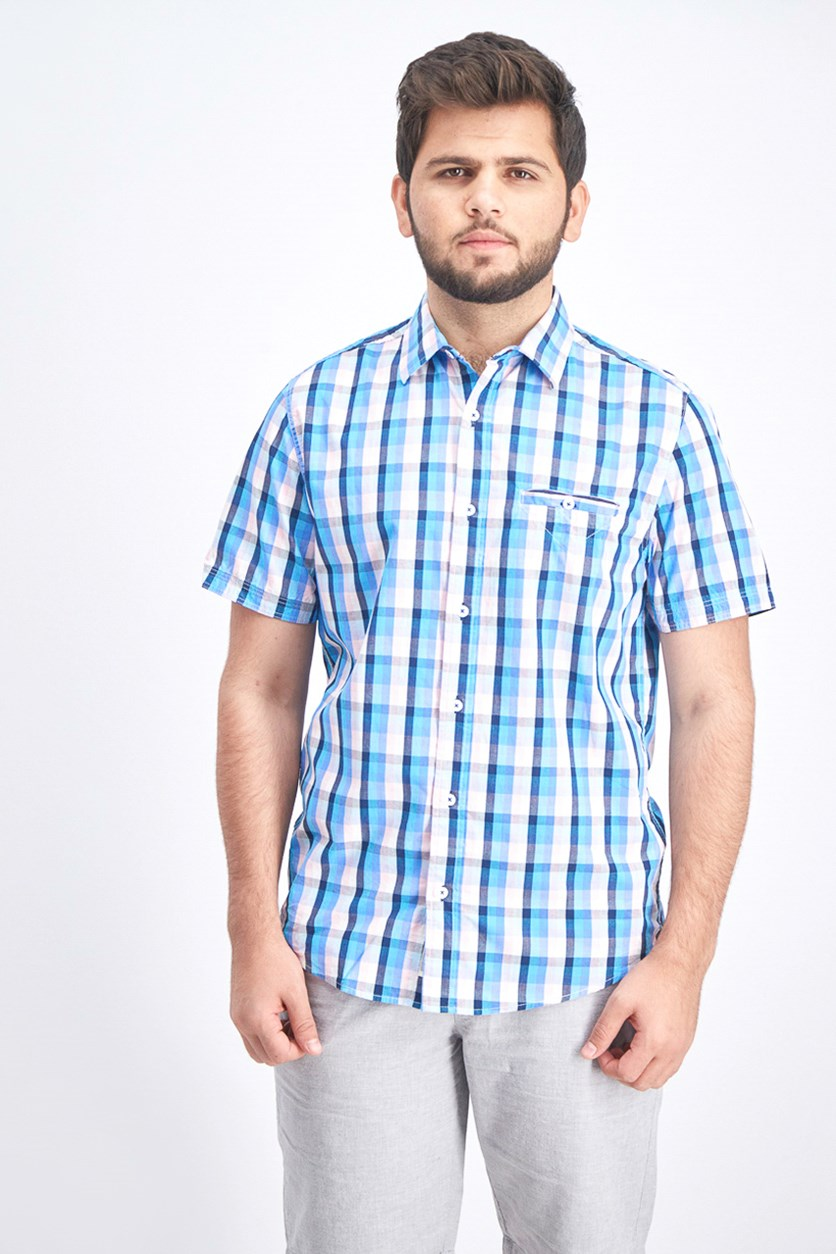 Men's Plaid Button Down Shirt, Pink/Blue Combo