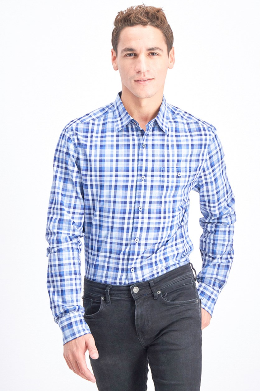 Men's Plaid Button Down Shirt, Navy Blue