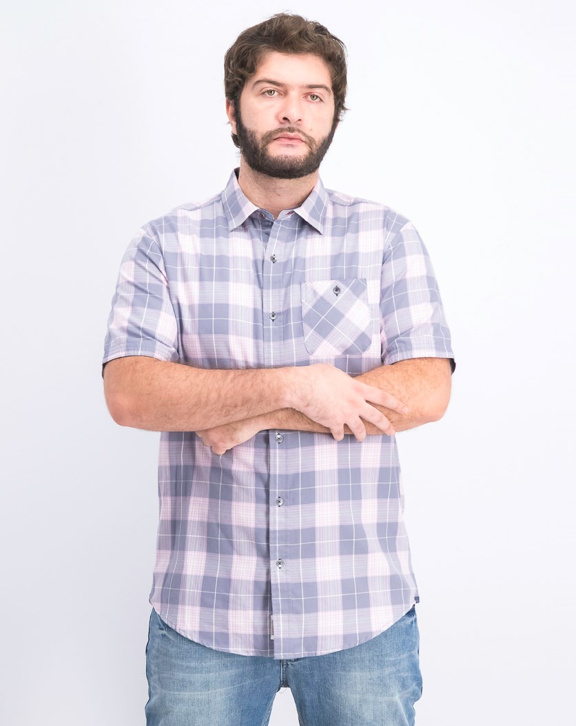 Men's Tall Plaid Shirt, Grey/Purple